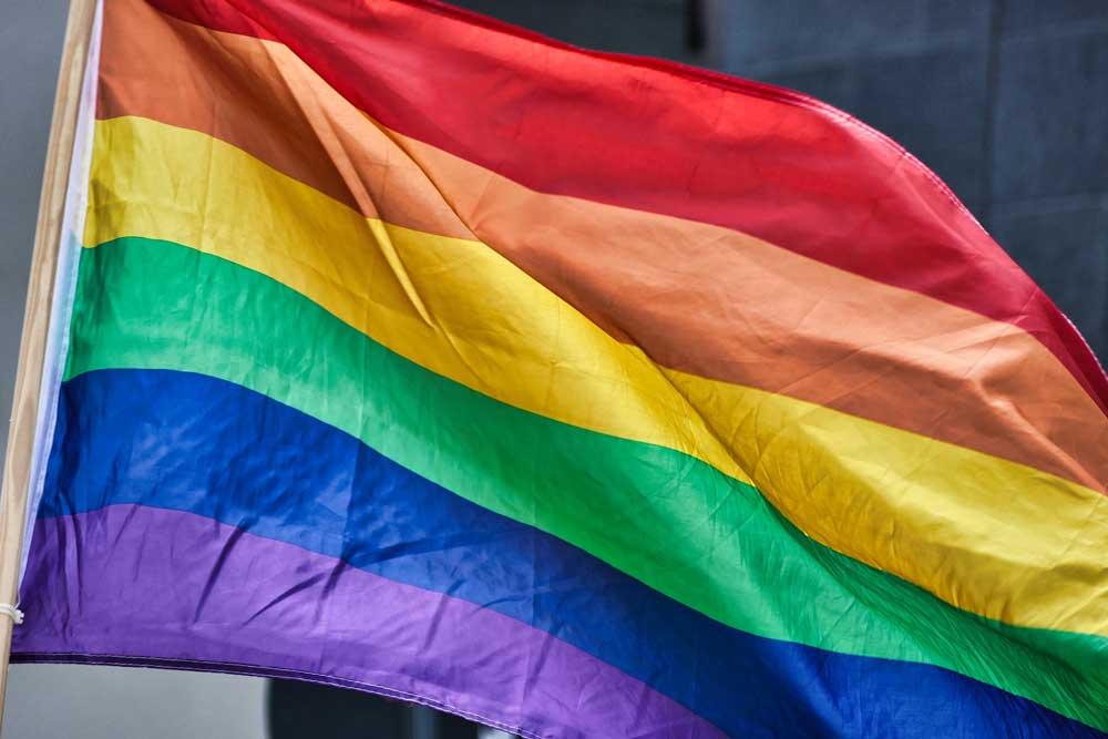 Rainbow pride flag.