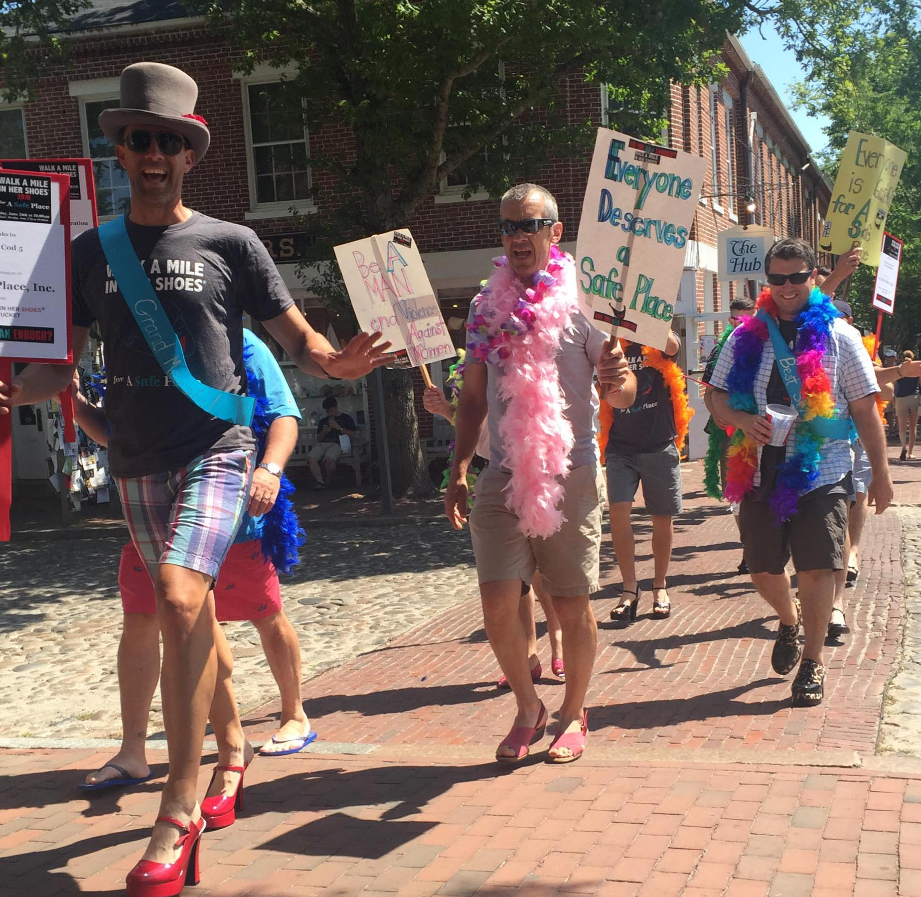 to walk a mile in her Walk a mile in her shoes is a campaign where men march a mile in high heel shoes to raise awareness about sexual assault and domestic violence senior matt hatchel, member of alpha tau omega, said he wants to see collegiate men as allies in the fight against sexual assault.